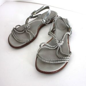 Cole Haan Shoes - Cole Haan Leather Gray Braided Strappy Sandals